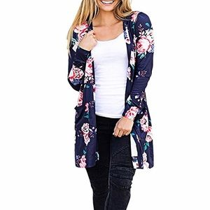 Sweaters - Navy Floral Cardigan